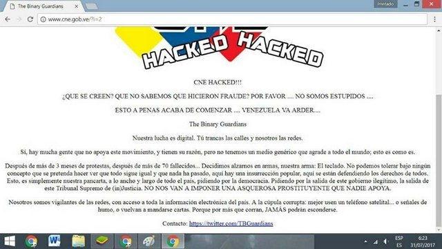 Hackean página web del Consejo Nacional Electoral